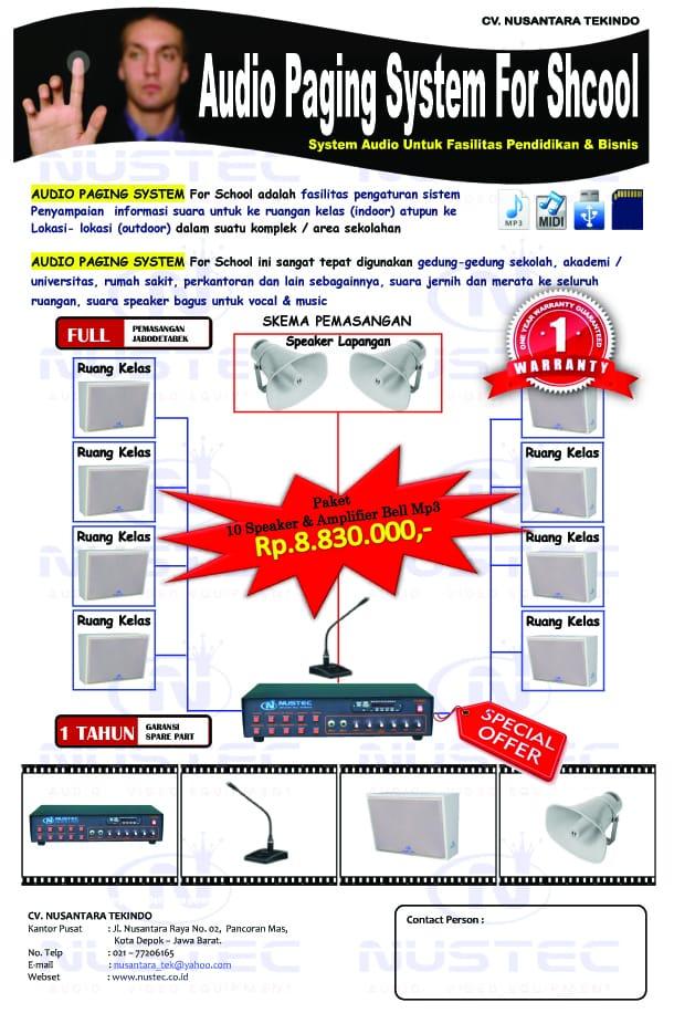 Paket Promo Audio Paging Sistem Audio Bradcast untuk sekolah Kantor Kampus, Apartemen